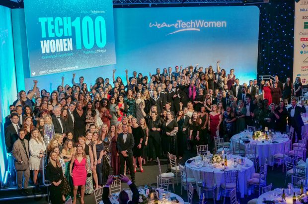 On stage with the WeAreTechWomen100 nominees at the award ceremony.
