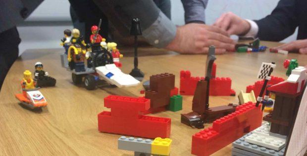An agile team conducting a retrospective using a Lego activity.