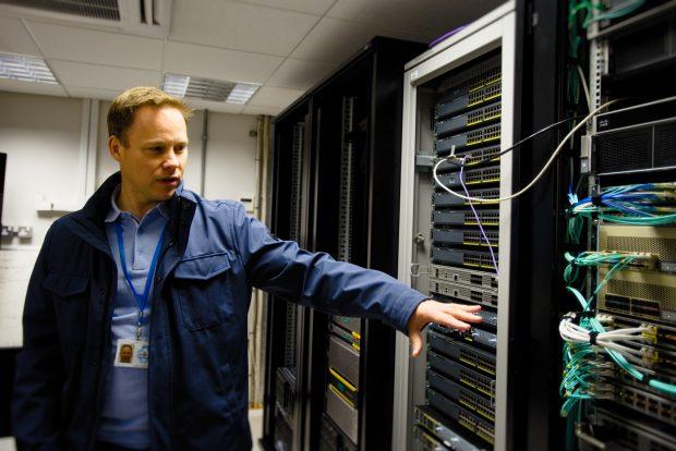 Andy Jones, Lead Tech Engineer in Blackpool Server Room