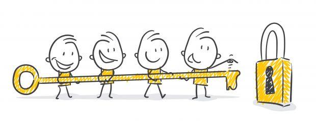 Cartoon illustration of people holding a key to unlock success