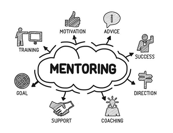 Mentoring illustration: advice, motivation, training, goal, support, coaching, direction, success,