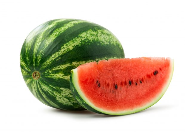 Image of a whole watermelon and a slice of a watermelon